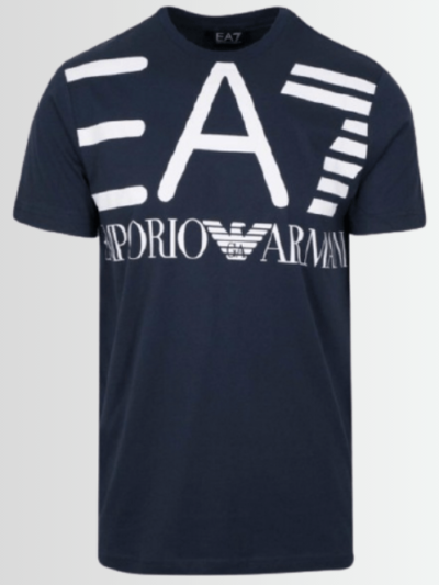 Armani Men's EA7 Printed Logo Navy Short Sleeve T-Shirt - Laurelled