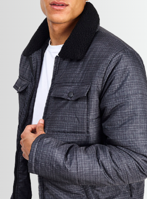 BRAVE SOUL BORG COLLAR DETAIL CHECKED GREY AVIATOR STYLE JACKET - Laurelled
