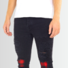 BRAVE SOUL LUMBERJACK CHECK PATCH DETAIL CHARCOAL SKINNY JEANS - Laurelled